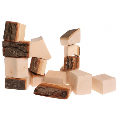 15 Holz-Bauklötze mit Rinde